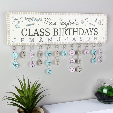 Classroom Birthday Planner Plaque with Customisable Discs